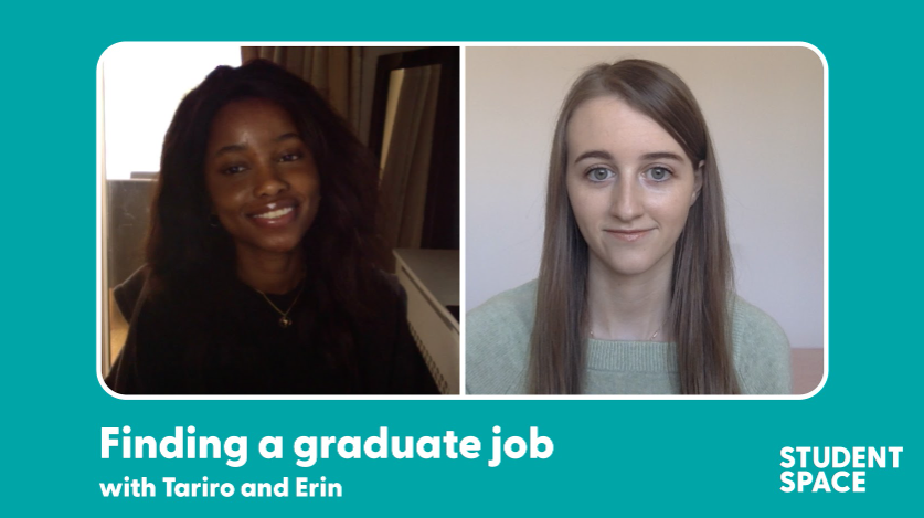 "two young women on an image labelled ""finding a graduate job"""