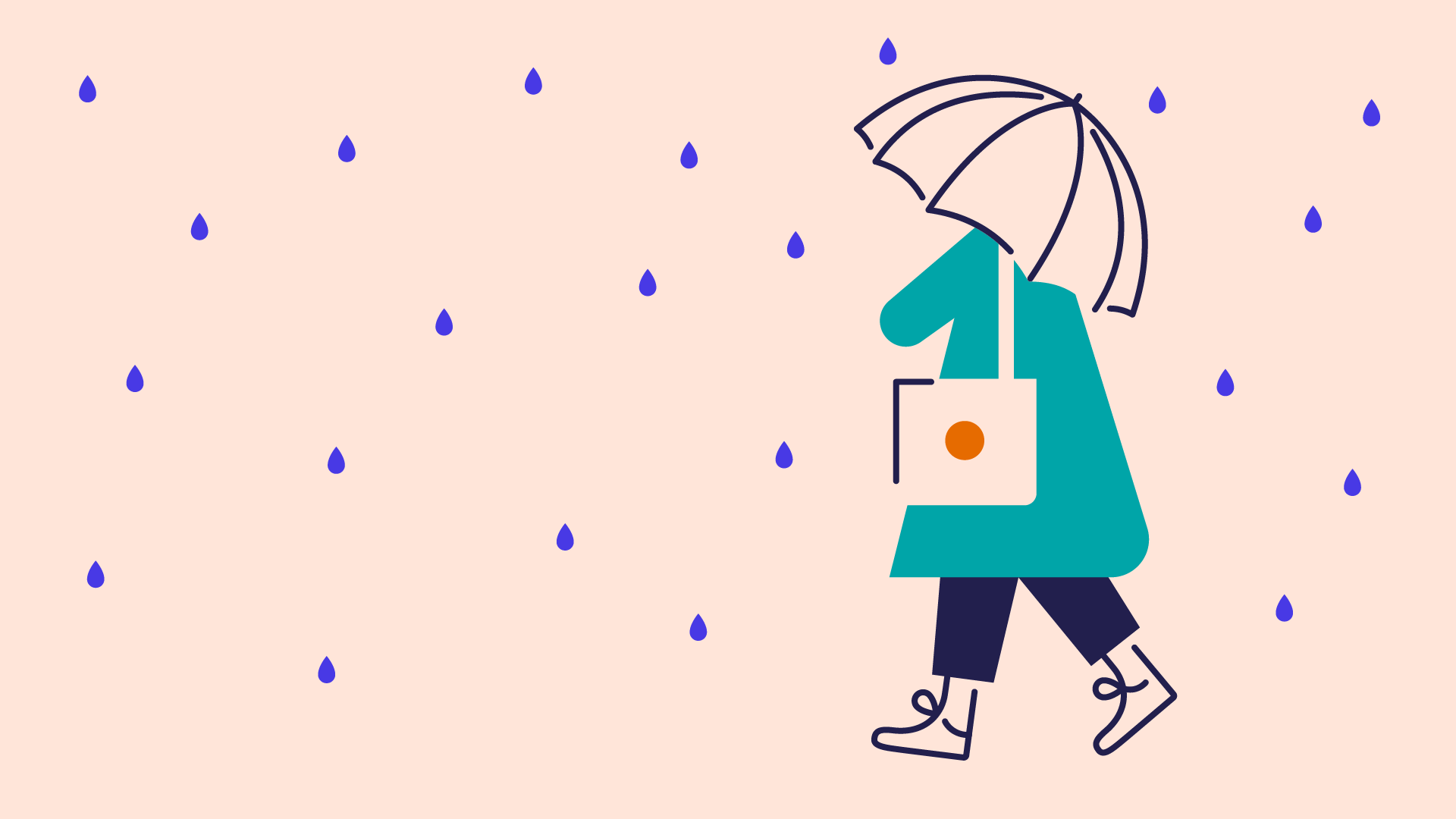 illustration of person with umbrella walking in the rain